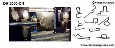 CN machine to bend wire and manufacture 2D and 3D parts. Model DH-2000-CN. Reivax Máquinas.