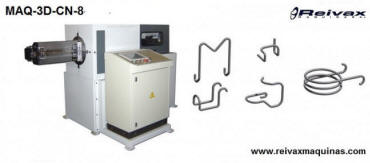 CN machine to bend wire and manufacture 2D and 3D parts. 4 Axis. Model MAQ-3D-CN-8. Reivax Maquinas.