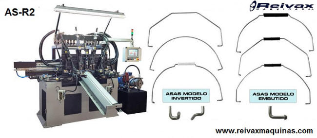 Máquina para fabricar: Asas de alambre para recipientes. Modelo AS-R2 de Reivax Máquinas.