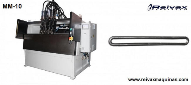 Programmable hydraulic bending machine with heads and bending tools. Model MM-10 from Reivax Maquinas.