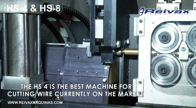 CN machine for straightening and cutting short sections of wire rod. Reivax Maquinas.