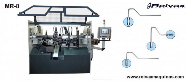 Machine to manufacture paint rollers with option to insert the handle. MR-8 from Reivax Machines.