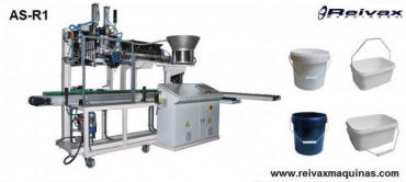 Máquina para fabricar: Asas de alambre con inserción a recipiente de plástico. Modelo AS-R1 de Reivax Máquinas.