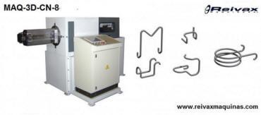 Máquina CN para doblar alambre y fabricar piezas 2D y 3D con 4 ejes. Modelo MAQ-3D-CN de Reivax Máquinas.