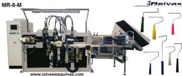 MR-8-M Máquina fabricar: Rodillos de pintar e insertar mango. Reivax Maquinas