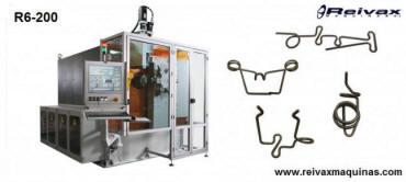 Máquina CN para doblar alambre y fabricar piezas 2D y 3D con 16 ejes. Modelo R6-00 de Reivax Máquinas.