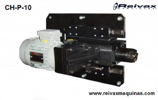 Cabezal para hacer biseles y chaflanes en el extremo de la varilla de alambre. Modelo CH-P-10 de Reivax Máquinas.