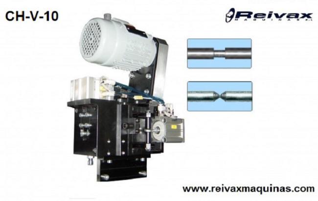 Cabezal para hacer biseles y chaflanes en el medio de la varilla de alambre. Modelo CH-V-10 de Reivax Máquinas.