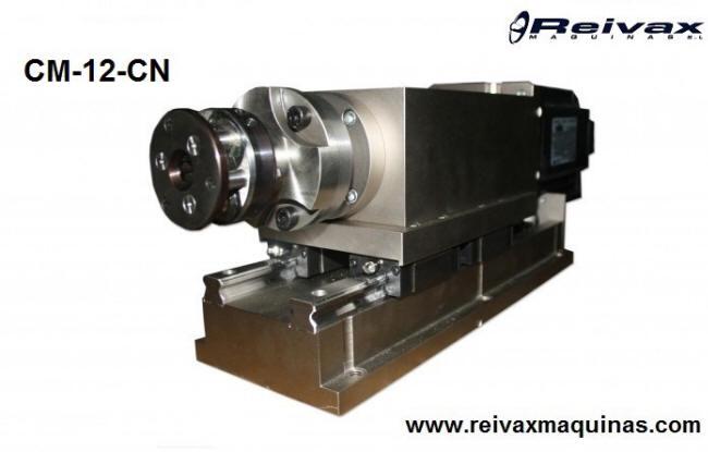 Cabezal CN multifunción para hacer roscas, biseles, chaflanes, dobleces y muelles en la varilla de alambre. Modelo CM-12-CN de Reivax Máquinas.