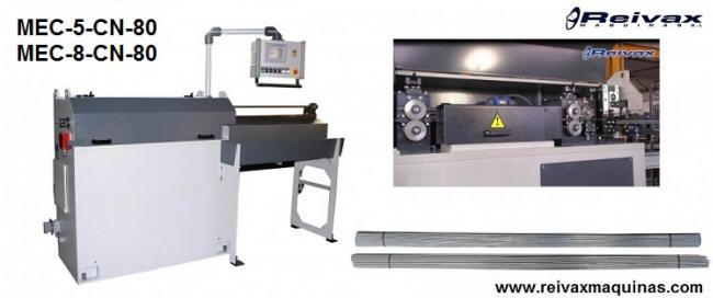Máquina CN para enderezar y cortar varilla de alambre a medida. Modelo MEC-5-CN-80 de Reivax Maquinas.