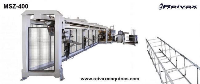Máquina para fabricar: Armazones para la construcción - Pilares de varilla de alambre. Modelo MSZ-400 de Reivax Maquinas. Barcelona - España.