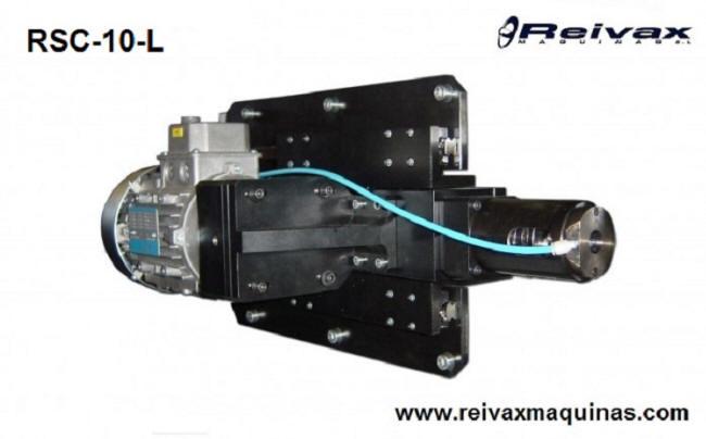 Cabezal para hacer roscas por laminación en extremo de la varilla de alambre. Modelo RSC-10-L de Reivax Máquinas.