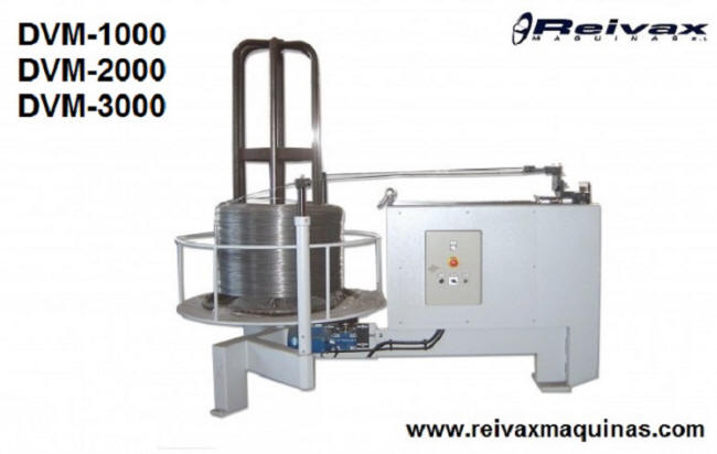 Motorized uncoiler for wire rolls. Model DVM-1000. Reivax Maquinas.