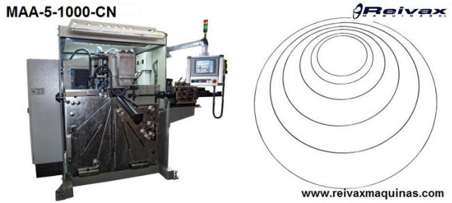 CN Machine to manufacture: Wire rings. Model MAA-5-1000-CN. Reivax Maquinas.
