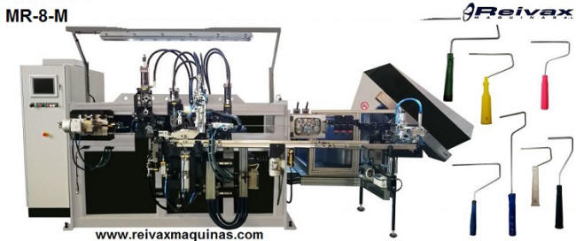 Machine to manufacture: Paint rollers with assembling a plastic handle. Model MR-8-M. Reivax Maquinas.
